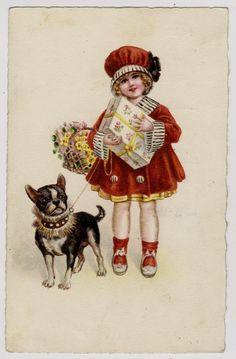 Little Girl in red w Dog French Bulldog original vintage 1930s litho postcard