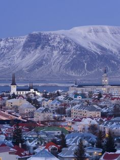 View over Reykjavik in Winter, Iceland Travel Photographic Print - 46 x 61 cm Places Around The World, Oh The Places You'll Go, Places To Travel, Places To Visit, Vacation Destinations, Dream Vacations, Iceland Travel, Reykjavik Iceland, Mountain Images
