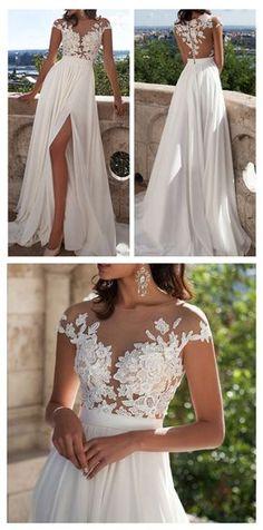 Ivory Lace Beach Wedding Dresses,Front Slit See Through Wedding Dress,Cap Sleeves Wedding Gowns,Sexy Long Wedding Dress