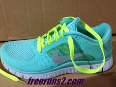 Mens Nike Free Run 3 Tropical Twist Reflect Silver Pure Platinum Volt Lace Tiffany Blue Nike Shoes