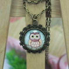 Owl Cartoon   Antique Bronze Glass Pendant Necklace by AfifShop