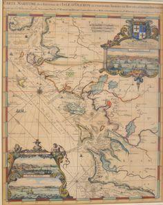 rare ! (f.gatti). 1693. Romeyn de HOOGHE  « Carte maritime des environs de l'Isle d'Oléron à l'usage des armées du roy de la Grande Bretagne » (1693). Gravure sur cuivre, rehaussée de couleurs à l'aquarelle et montée sous passe-partout fileté et cadre doré en bois…. Carte ornée de 2 beaux cartouches décoratifs avec 3 petites vues : « La Rochelle », le « Port de Marans » et l »Isle d'Oleron ».