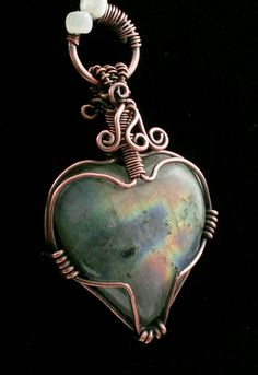 Labradorite Heart Shaped Pendant Wire Wrap Copper Patina