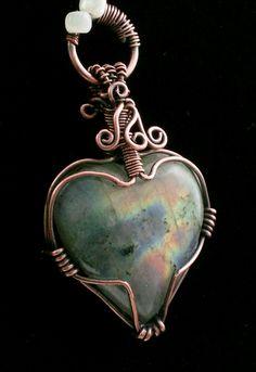 Labradorite Heart Shaped Pendant Wire Wrap Copper Patina More