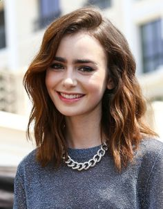 Lily Collins medium length hair style