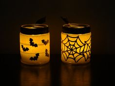 Halloween Lantern, hALLOWEEN CANDLE, TRICK OR TREAT, BLACK CAT, SCARY BLACK CAT, GOTHIC HALLOWEEN, BATS, SPIDERS,Halloween Lantern candle holders choose by MYSTICALLYENCHANTING, $7.50