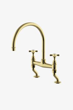 Discover Easton Vintage Two Hole Bridge Gooseneck Kitchen Faucet, Metal Cross Handles Online | Waterworks Single Handle Bathroom Faucet, Bathroom Faucets, Bathrooms, Breakfast Nooks For Sale, Kitchen Taps, Kitchen Reno, Kitchen Handles, Brass Faucet, Luxury Kitchens