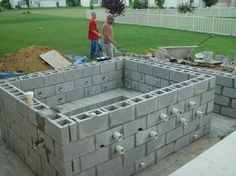 Concrete block pool kits concrete block puppy pool in for Help build your own home