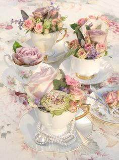 Vintage Tea Cups with Pretty Florals & Jewels as Sweet Little Centerpiece Ideas for a Tea Party Bridal shower Afternoon Tea Parties, Afternoon Tea Table Setting, Afternoon Tea Party Decorations, Vintage Party Decorations, High Tea Decorations, Summer Table Decorations, Tea Party Bridal Shower, Tea Party Wedding, Wedding Cakes