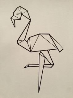 Illustrated Geometric Flamingo Poster (Reproduction) on Etsy, 52,11 kr