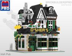Lego Custom Modular Irish Pub by Brick Builders Pro Lego Chevalier, Custom Lego Sets, Instructions Lego, Lego Super Mario, Lego Knights, All Lego, Lego Modular, Printable Pictures, Pub Set