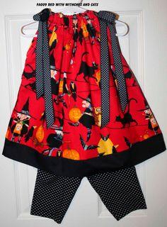 Halloween Pillowcase dress Witches Owls by GiraffesJellybeans, $19.99