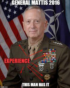 """Mad Dog"" James Mattis: America's New Secretary of Defense - Conservative Zone Military Humor, Military Police, Usmc, Military Veterans, General James Mattis, Jim Mattis, Donald Trump, John Trump, Us Marine Corps"