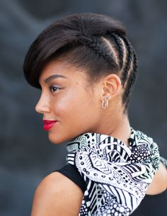 Stella - Soft and hard, tough and romantic, this hairstyle is all about contrasts, with thin, tight braids--or cornrows--at the neck and a pretty wave that frames the face.