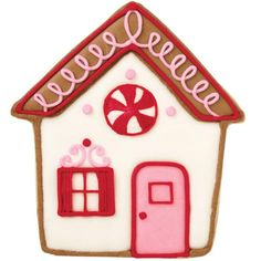 Sweet and Pink Cottage Cookie - Wrap this pretty gingerbread cottage cookie using any Wilton Party Bags and give to your neighbors as a sweet holiday gift. Create it using the 3-Pc. Gingerbread Cottage Holiday Cookie Cutter Set.