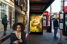 Alex Webb GB. London. 2010. Bus stop near Stamford