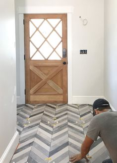 Marble look tile Young House Love Entryway Tile Floor, Entry Tile, Foyer, Young House Love, Basement Renovations, Home Renovation, Style At Home, Herringbone Tile Floors, Home Fashion
