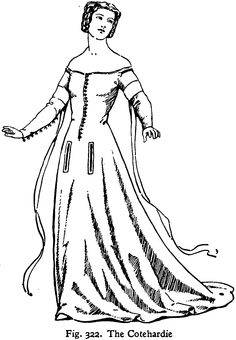 "female cotehardie: the cotte was also known as a gown. cotehardies had hanging tippets or long narrow fabric extensions. Gowns had low necks, tight bodices, and full long skirts. the ""pregnant look"" was common has many gowns provided a protruding stomach."