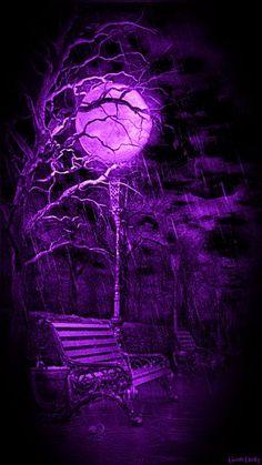 Purple night, gif  moon; tree; steps;