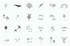 100 Hand Drawn Elements by Michael Rayback Design on Creative Market - Aesthetics - Henna Designs Hand Little Tattoos, Mini Tattoos, Cute Tattoos, Small Tattoos, Tatoos, Element Tattoo, Stick Poke Tattoo, Nature Symbols, Tattoo Symbole