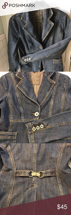 Michael Kors Tailored Denim Jacket Tailored Denim Jacket with lots of detailing.  Excellent condition.  Great for casual workdays or weekends out. MICHAEL Michael Kors Jackets & Coats Jean Jackets