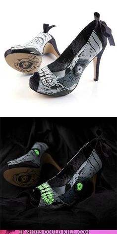 Glow in the dark zombie high heels Crazy Shoes, Me Too Shoes, Sock Shoes, Shoe Boots, Graveyard Girl, Skull Heels, Glow Shoes, Steampunk Boots, Fashion Socks
