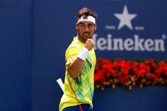 Fabio Fognini (ITA) in action against Andy Roddick (USA)[20] in the third round. - Philip Hall/USTA