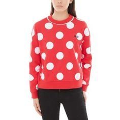 Shop Disney x Vans Minnie Boxy Crew Sweatshirt today at Vans. The official Vans online store. Sweater Outfits, Sweater Hoodie, Crew Neck Sweatshirt, Pullover, Crew Sweatshirts, Hoodies, Red Vans, Polka Dot Print, Clothes For Women