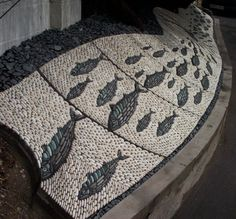 The Shoal. Joel Baker's mosaic for a private residence at Hove, Sussex, UK. http://www.stonemanmosaics.com