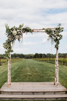 Remarkable Choosing Your Wedding Flowers Idea Wedding Decorations Custom Wedding Arbor - I can make gorgeous arbors for your wedding, we can do custom designs, engrave your name, initials, or a quote. This can be a great gift and one you will keep not j Wedding Arbor Rustic, Birch Wedding, Wedding Ceremony Flowers, Marquee Wedding, Farm Wedding, Wedding Venues, Chic Wedding, Wedding Week, Wedding Locations