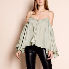 "Bare Anthology Tops - ""Stars"" Off Shoulder Bell Sleeve Peasant Top"