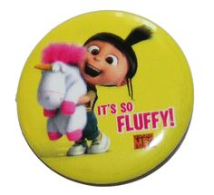 Minions Despicable Me Agnes Fluffy Button Pin