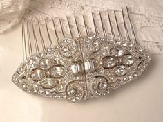 Hair Comb OR Duette Brooch Or Dress Clips, Original 1920s Coro signed TRUE Vintage Art Deco Rhinestone Bridal Brooch, Clips or Comb by AmoreTreasure on Etsy