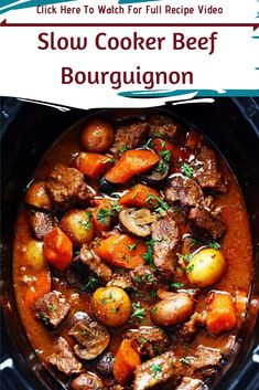 Slow Cooker Beef Bourguignon Stew Slow - Boeuf bourguignon is so much more than just another beef stew. serving: 8 Ingredients 1 pounds lean beef chuck, cut into bite size cubes 1 pound russet (Idaho) potatoes, peeled and chopped into large cubes 2 … Crock Pot Slow Cooker, Slow Cooker Recipes, Cooking Recipes, Crockpot Meals, Cubed Beef Recipes, Chicken Recipes, Dinner Crockpot, Slow Cooking, Cooking Wine