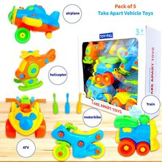 Take Apart Toys (pack of STEM Learning Vehicles Play Set, Builds Problem Solving and Fine Motor Skills For Boys Girls Toddlers Age 3 4 5 6 Years Old 3 Year Old Boy, Kids Gift Baskets, Stem Learning, Toddler Age, Charts For Kids, Take Apart, Old Boys, Building Toys, Fine Motor Skills