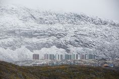 Fresh snow covering Nuuk, the capital of Greenland.