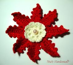 a package with 6 Christmas flowers, gift ideas,christmas day,holiday, red, yellow,bead, by TinasHandicraftGr on Etsy