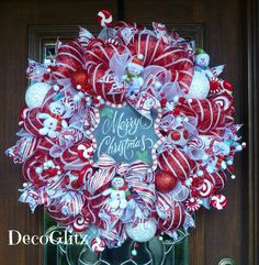 Whimsical RED and WHITE SNOWMEN Christmas Wreath by decoglitz