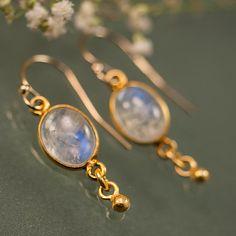 June Birthstone Earrings Cabochon Rainbow Moonstone by delezhen, $33.00 (Black Silver & Oval)