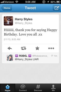"Harry loves us.....lsd;fknglf hahaha that comment ""LIAR"" hahahah that made me laugh"