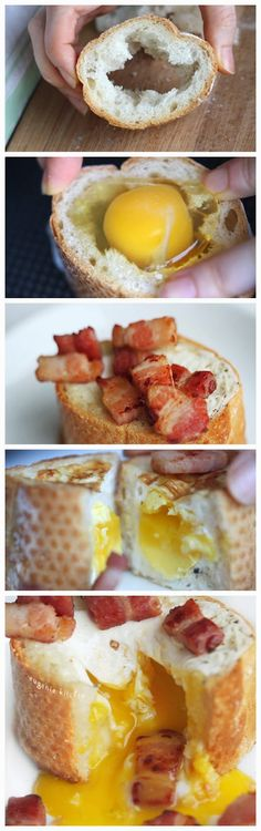 Turn regular breakfast ingredients into something fun! Egg Bacon Baguette Breakfast Recipe.