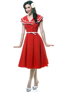 Red Captain Circle Skirt Swing Dress #uniquevintage, #pinup