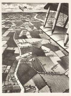 'In the Air' (1917) by British artist Christopher Nevinson (1889-1946). Lithograph on paper, 405 x 302 mm. via the Tate