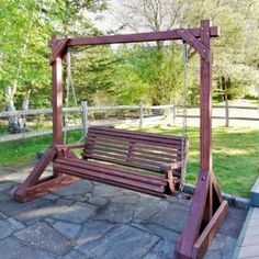 The finest best built Bench Swing Sets on the market. These lovely garden bench swings are truly built to last decades in any weather. Outdoor Wooden Swing, Wood Swing, Diy Bench Seat, Bench Swing, Modern Gazebo, Free Standing Pergola, Above Ground Pool Landscaping, Backyard Swings, Garden Structures