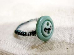 Handmade Vintage Turquoise Button Ring by foxxyfox on Etsy https://www.etsy.com/listing/181313759/handmade-vintage-turquoise-button-ring