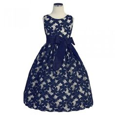ebc82b17f Sweet Kids Little Girls Navy Jasmine Lace Special Occasion Dress 6M-12 Pink  Jasmine,