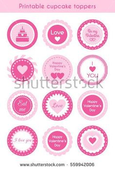 Set of circle pink printable cupcake toppers, labels for Valentine's day party