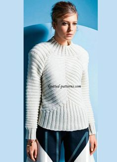 Ribbed pullover w/ raglan sleeves FREE pattern. The knit ribbing creates diagonal lines, emphasizing the shoulders (1/2) (hva)