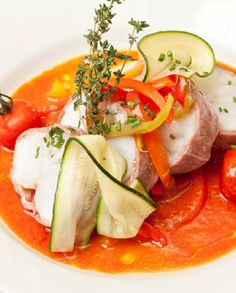 Andy Waters prepares a divine, quick and easy monkfish tails recipe complete with a tomato and pepper sauce monkfish recipes Monkfish Recipes, Red Pepper Sauce, Great British Chefs, Fodmap Recipes, Fried Fish, Fish Dishes, Fish And Seafood, Seafood Recipes, Honey