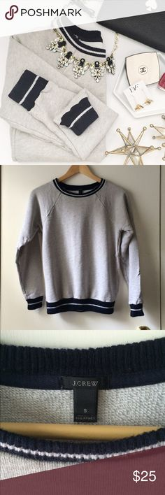J. Crew Ribbed Trim Sweatshirt Looks great with a collared shirt underneath, found slight discoloration (no idea what it is, but I cannot imagine it's something that cannot be washed out):  Necklace, wallet and earrings are also available in my closet!👆🏻  🚫 Trades/🅿️🅿️ ✨ 100% Authentic 💵 Offers Welcome 💰 Bundle Discount 📬 Ships in 1-2 Days J. Crew Tops Sweatshirts & Hoodies